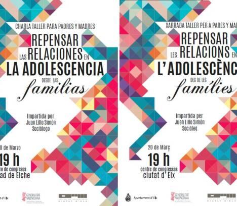 20 de marzo charla para padres y madres »Repensar las relaciones en la adolescencia desde las familias»