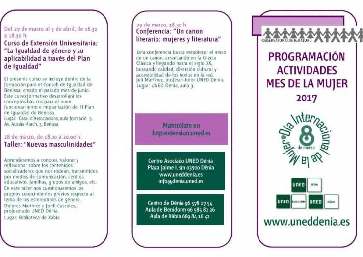 Programación de las actividades del mes de la mujer 2017, de la UNED de Denia.