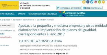 Ayudas a la pequeña y mediana empresa y otras entidades para la elaboración e implantación de planes de igualdad, correspondientes al año 2017