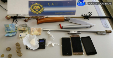 G.A.O. desmantela puesto de venta de droga e interviene arma casera