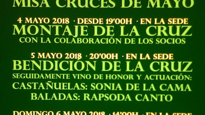 Activitats programades per a la celebració de les  Creus de Maig 2018