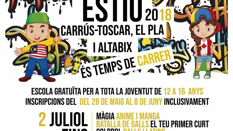 És temps de carrer… Tornen les escoles d'estiu de Carrús-el Toscar, el Pla-Sector V i, com a novetat, en el barri d'Altabix!!!