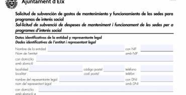 Subvenciones para asociaciones y entidades de interés social y sin animo de lucro y subvenciones de gastos de mantenimiento y funcionamiento de las sedes para programas de interés social