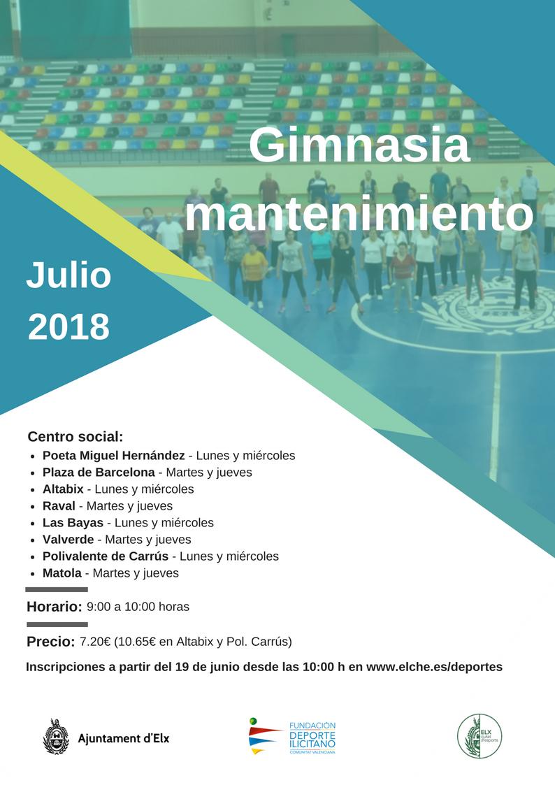 Gimnasia de mantenimiento – Julio 2018