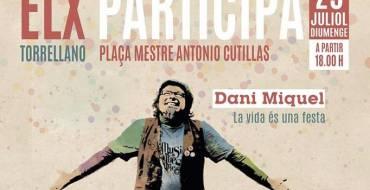 Dani Miquel actúa este domingo en la plaza Mestre Antonio Cutillas de Torrellano dentro del programa Elx Participa
