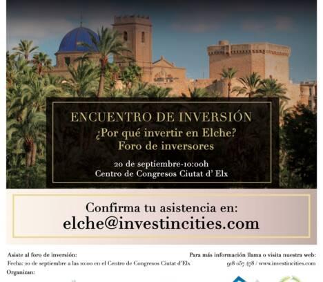 """Encuentro de Inversión """"Invest in Cities Elche"""""""