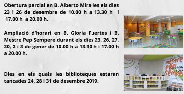 Horarios en las bibliotecas durante las fiestas navideñas