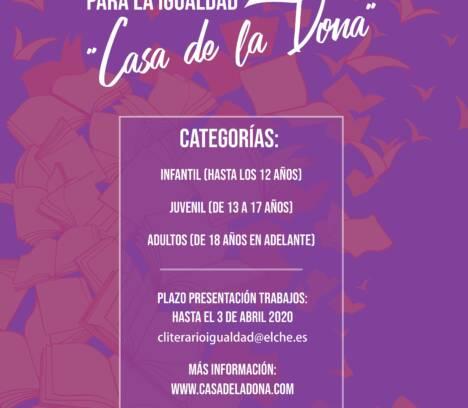 V CERTAMEN LITERARIO PARA LA IGUALDAD  «CASA DE LA DONA»
