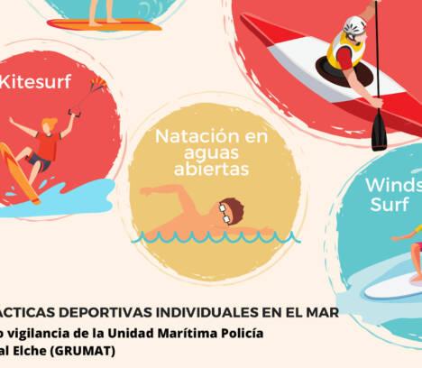 El Ayuntamiento permite la práctica deportiva individual en el mar a deportistas profesionales y federados