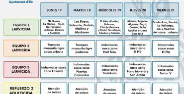Programació de les fumigacions contra els mosquits en la setmana del 17 al 23 d'agost