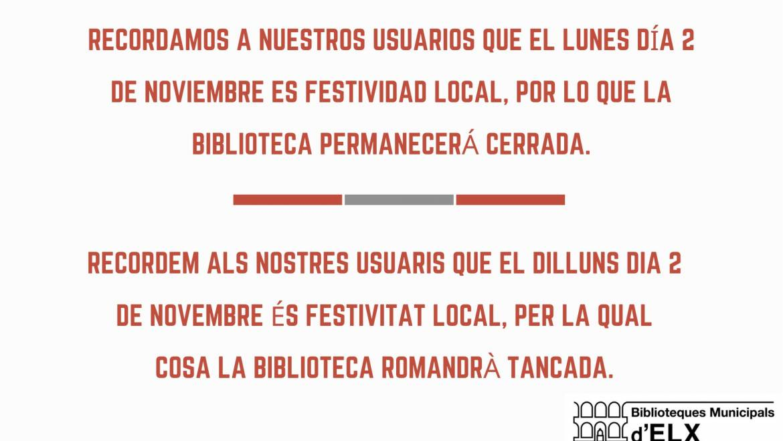 Les biblioteques municipals estaran tancades el dilluns 2 de novembre en ser festivitat local