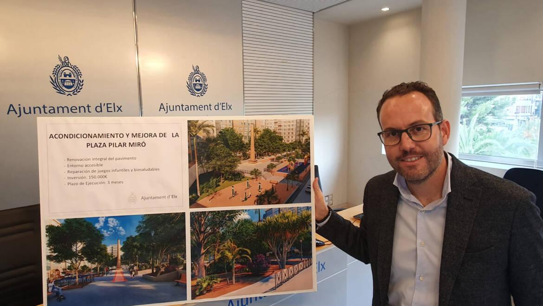 El Ayuntamiento de Elche pone en marcha la modernización y accesibilidad de la antigua plaza Pilar Miró del barrio de Carrús