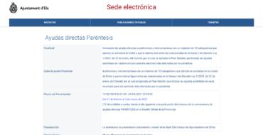 Elche es el primer municipio de la Comunidad Valenciana en habilitar el procedimiento para las ayudas a los sectores afectados por la pandemia