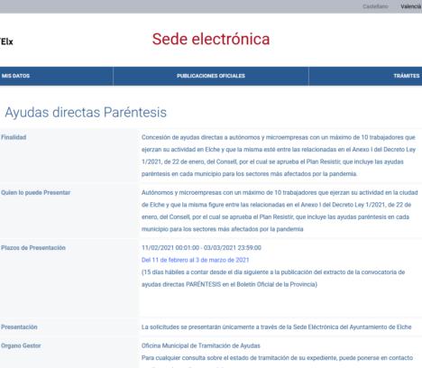 Elx és el primer municipi de la Comunitat Valenciana a habilitar el procediment per a les ajudes als sectors afectats per la pandèmia