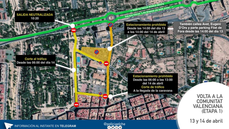 Cortes de tráfico por el paso de la Vuelta Ciclista a la Comunidad Valenciana en Elche