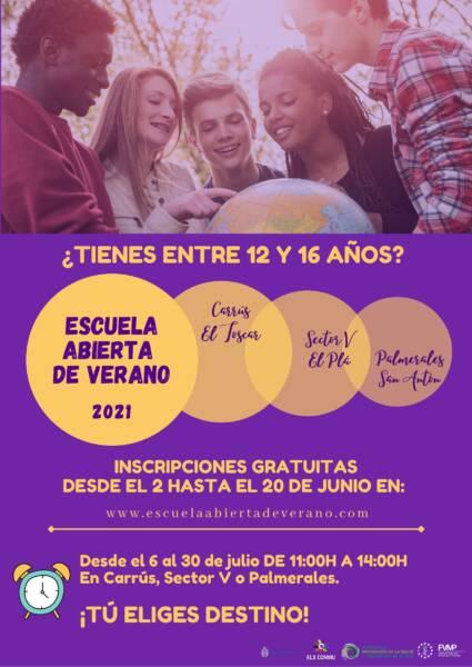 El Ayuntamiento abre la inscripción para participar en la Escuela Poster de la escuela Abierta de Verano 2021